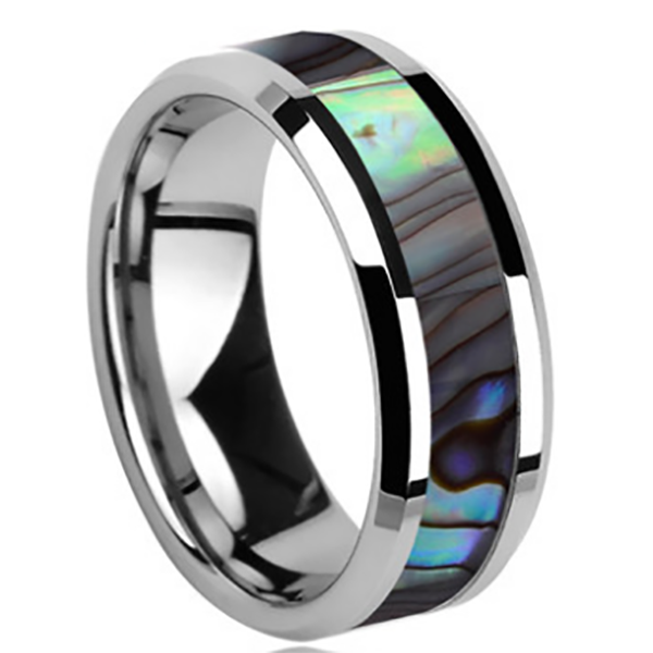 6mm Polished Finished Silver Ceramic Beveled Edge Ring With Shell Inlay