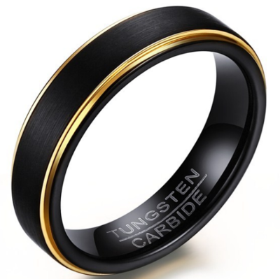 5mm Polished Finished Black Tungsten Carbide Flat Edge Ring With Double Gold Lining