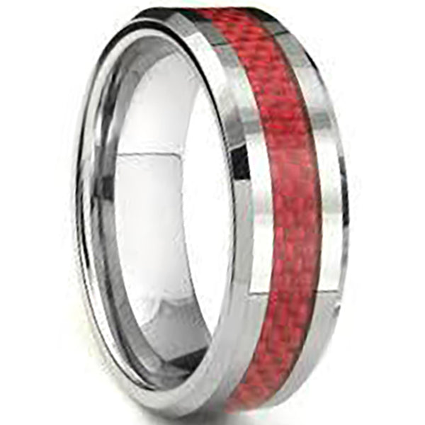 8mm Polished Finished Silver Ceramic Beveled Edge Ring With Red Carbon Fibre Inlay