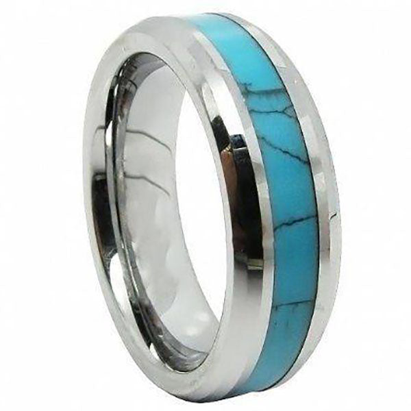 6mm Polished Finished Silver Ceramic Beveled Edge Ring With Turquoise Marble Inlay