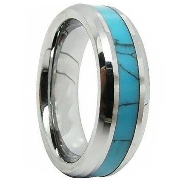 8mm Polished Finished Silver Ceramic Beveled Edge Ring With Turquoise Marble Inlay
