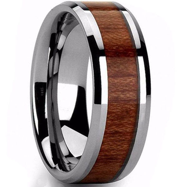 8mm Polished Finished Silver Ceramic Beveled Edge Ring With Wood Inlay
