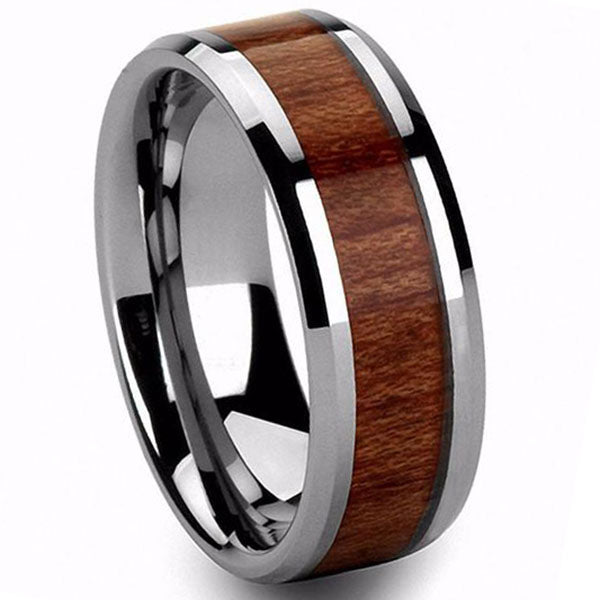 6mm Polished Finished Silver Ceramic Beveled Edge Ring With Wood Inlay