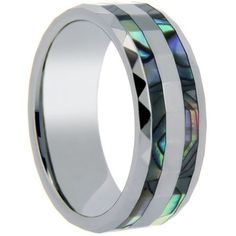 8mm Polished Finished Silver Ceramic Faceted Edge Ring With Double Abalone Shell Inlay