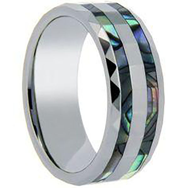 6mm Polished Finished Silver Ceramic Faceted Edge Ring With Double Abalone Shell Inlay