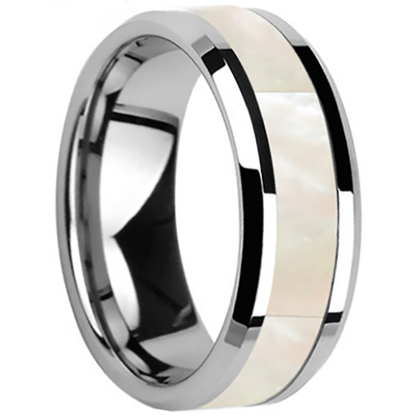 8mm Polished Finished Silver Ceramic Beveled Edge Ring With White Shell Inlay