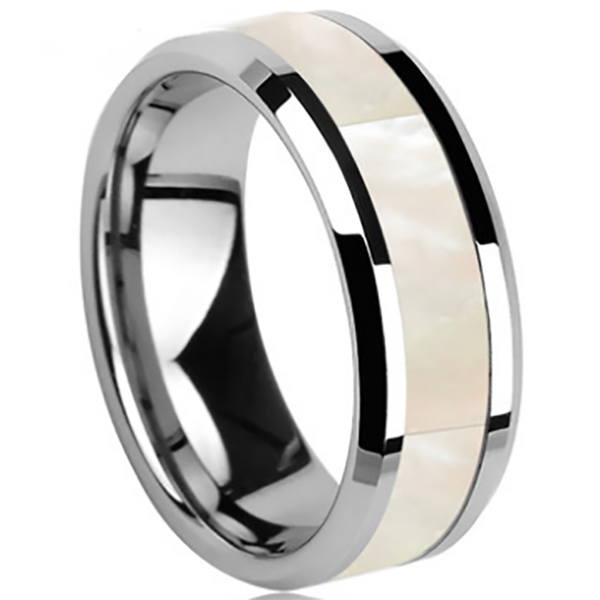 6mm Polished Finished Silver Ceramic Beveled Edge Ring With White Shell Inlay