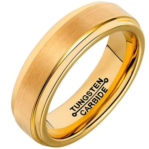 6mm Polished Finished 18K Gold Tungsten Carbide Step Down Edge Ring With Raised Matte Brushed Center