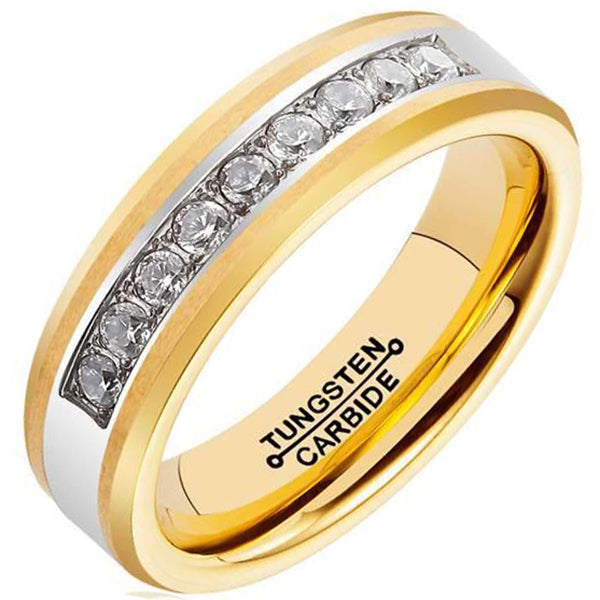 6mm Polished Finished 18K Gold Tungsten Carbide Beveled Edge Ring With Exquisite Cubic Zirconia Inlay