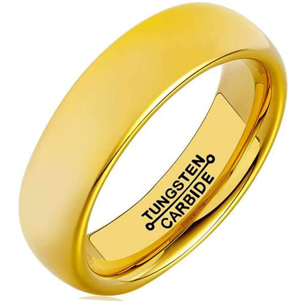 6mm Polished Finished 18K Gold Tungsten Carbide Flat Edge Dome Ring With Matte Brushed