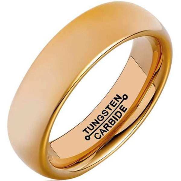 6mm Polished Finished 18K Rose Gold Tungsten Carbide Flat Edge Dome Ring With Matte Brushed Center
