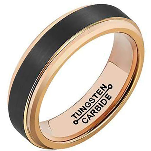 6mm Matte Finished Rose Gold Tungsten Carbide Step Down Edge With Black Matte Brushed Center