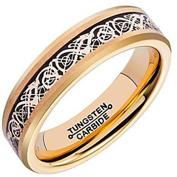 6mm Polished Finished Gold Tungsten Carbide Beveled Edge Ring With Black Carbon Fiber Silver Celtic Dragon Inlay
