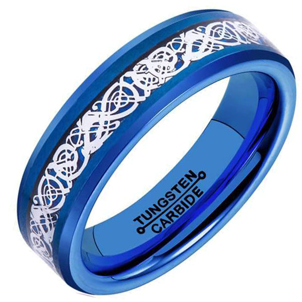 6mm Polished Finished Blue Tungsten Carbide Beveled Edge Ring With Blue Carbon Fiber Silver Celtic Dragon Inlay