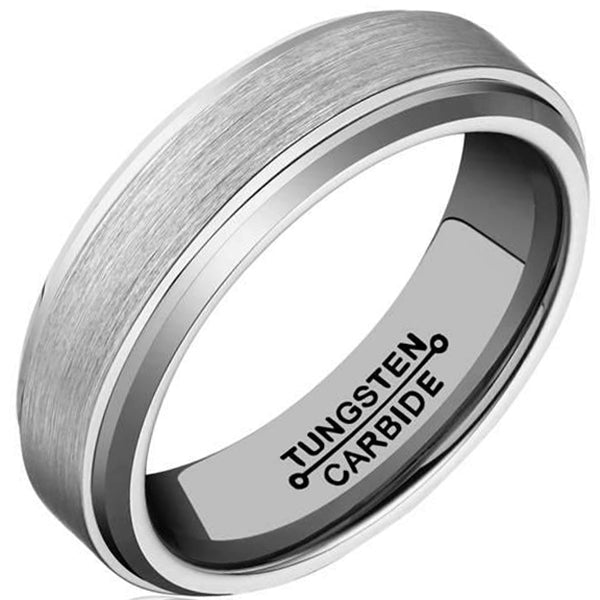 6mm Polished Finished Silver Tungsten Carbide Step Down Edge With Matte Brushed Center