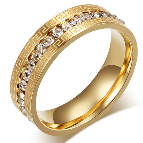 6mm Gold Titanium Flat Edge Ring With Gold Staggered Design And Gemstones