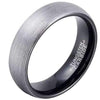 6mm Matte Finished Black Tungsten Carbide Flat Edge Ring With Silver Matte Brushed