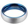 6mm Matte Finished Blue Tungsten Carbide Flat Edge Ring With Silver Matte Brushed