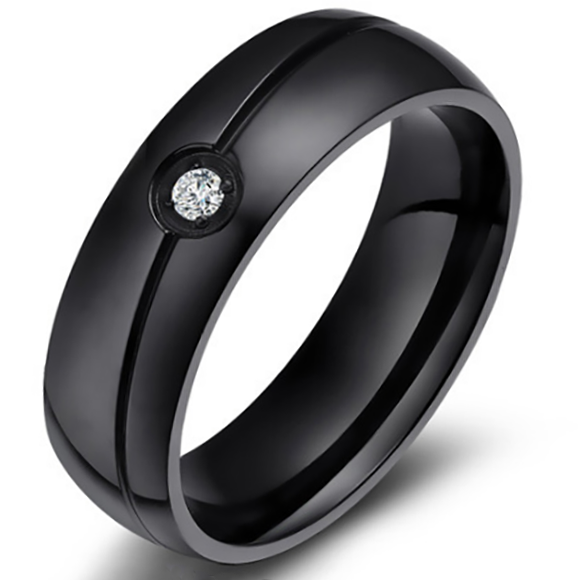 6mm Matte Finished Black Titanium Flat Edge Ring With Black Groove And Gemstone