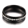 6mm Matte Finished Black Titanium Flat Edge Ring With Centre Groove Gemstone