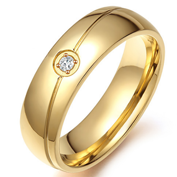 6mm Matte Finished Gold Titanium Flat Edge Ring With Gold Groove And Gemstone