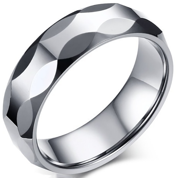 6mm Matte Finished Silver Faceted Tungsten Carbide Faceted Edge Ring
