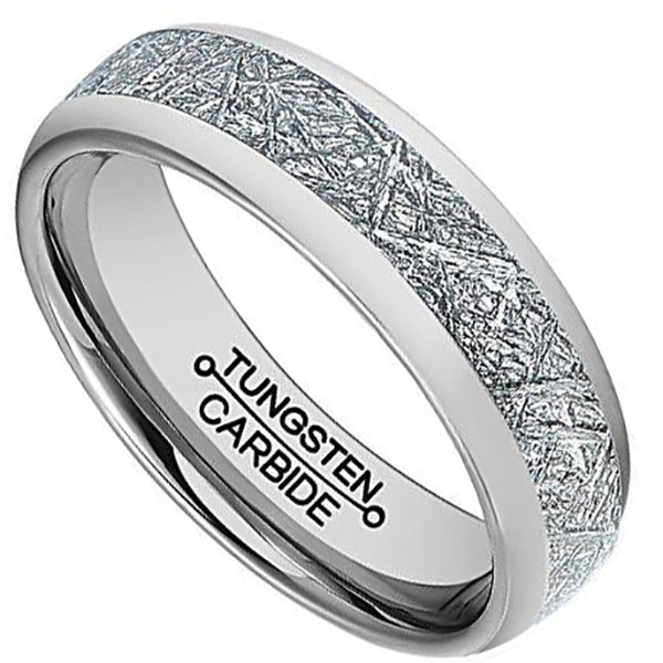 6mm Polished Finished Silver Tungsten Carbide Beveled Edge Ring With Center Groove Meteorite