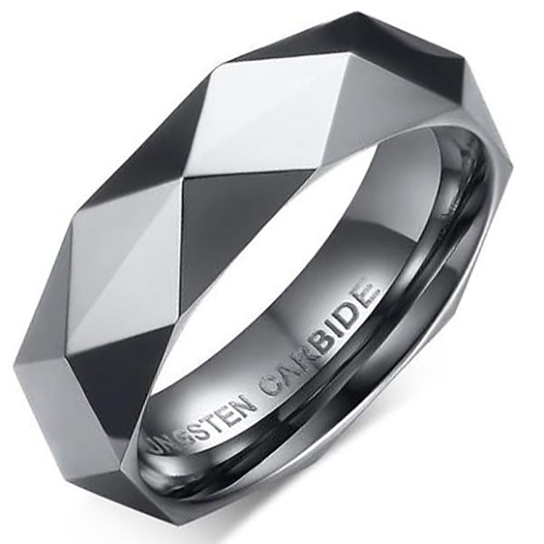 6mm Matte Finished Silver Faceted Tungsten Carbide Flat Edge Ring