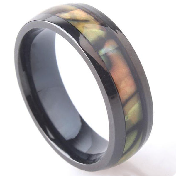 6mm Polished Finished Black Titanium Flat Edge Ring With Shell Inlay
