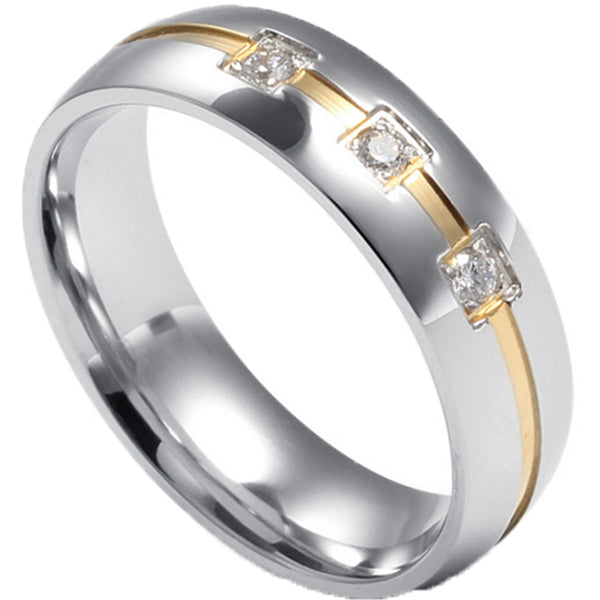 6mm Polished Finished Silver Titanium Flat Edge Ring With Gold Groove And 3 Gemstones