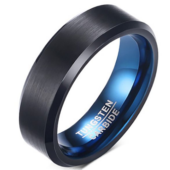6mm Matte Finished Black Tungsten Carbide Beveled Edge Ring With Blue Brushed Inner
