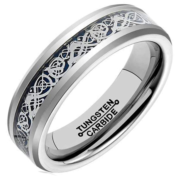 6mm Polished Finished Silver Tungsten Carbide Beveled Edge Ring With Black Carbon Fiber Silver Celtic Dragon Inlay