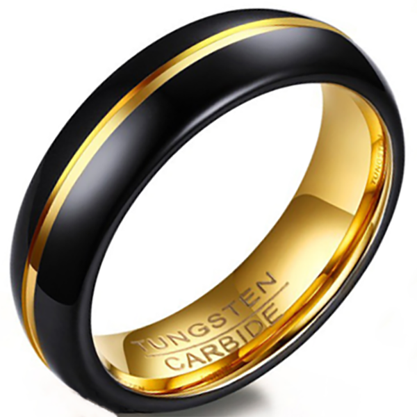 6mm Polished Finished Black Tungsten Carbide Flat Edge Dome Ring With Gold Inner And Lining