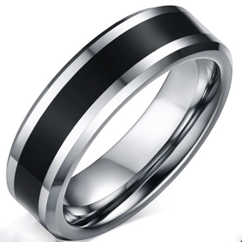 6mm Polished Finished Silver Tungsten Carbide Beveled Edge Ring With Black Emamel Inlay