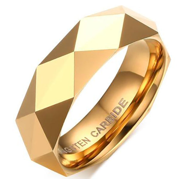 6mm Matte Finished Gold Faceted Tungsten Carbide Flat Edge Ring