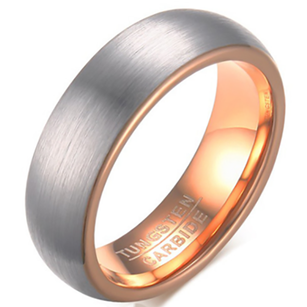 6mm Matte Finished Rose Gold Tungsten Carbide Flat Edge Ring With Silver Matte Brushed