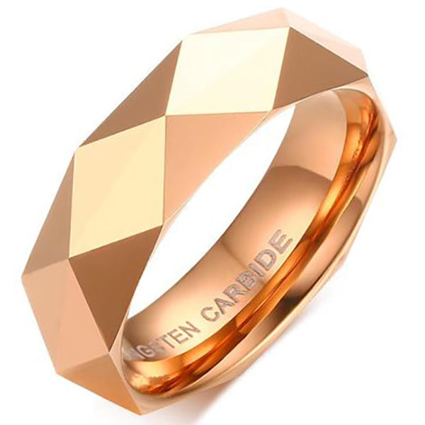 6mm Matte Finished Rose Gold Faceted Tungsten Carbide Flat Edge Ring