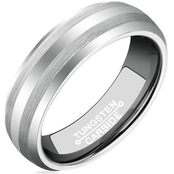 6mm Polished Finished Silver Tungsten Carbide Flat Edge Ring With Double Matte Brushed Center