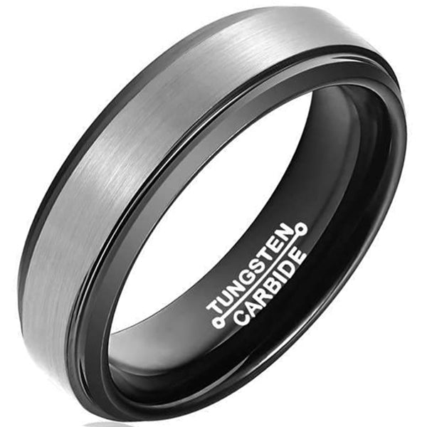6mm Polished Finished Black Tungsten Carbide Step Down Edge Ring With Silver Matte Brushed Center