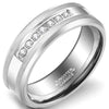 6mm Polished Finished Silver Tungsten Carbide Beveled Edge Ring With Exquisite Cubic Zirconi