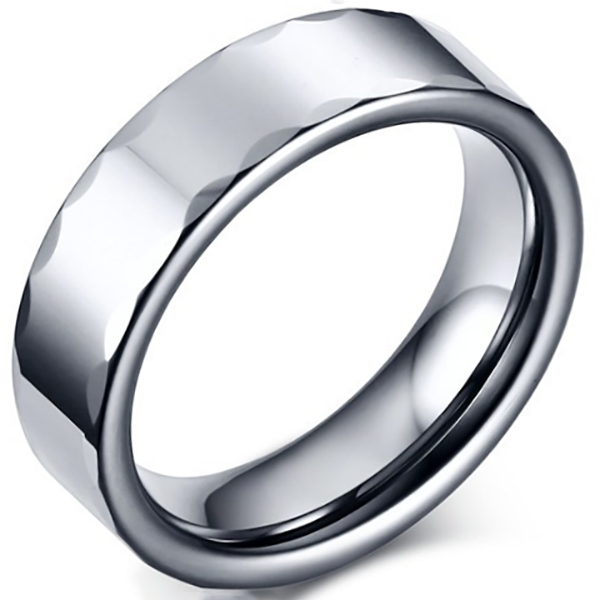 6mm Polished Finished Silver Tungsten Carbide Faceted Edge Ring