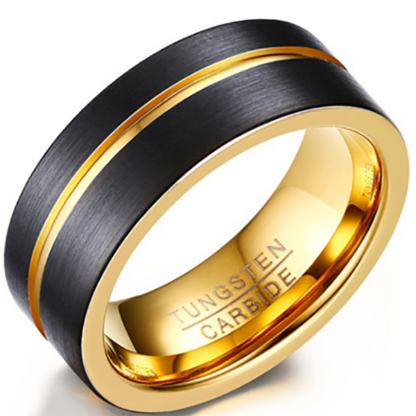 8mm Polished Finished 18K Gold Tungsten Carbide Flat Edge Ring With Double Black Matte Brushed