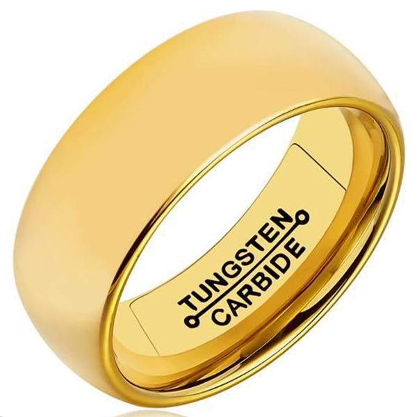 8mm Polished Finished 18K Gold Tungsten Carbide Flat Edge Dome Ring With 18K Gold Matte Brushed