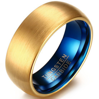 8mm Polished Finished Blue Tungsten Carbide Flat Edge Dome Ring With 18K Gold Matte Brushed