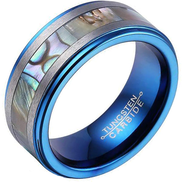 8mm Polished Finished Blue Tungsten Carbide Step Down Edge Ring With Abalone Shell Inlay