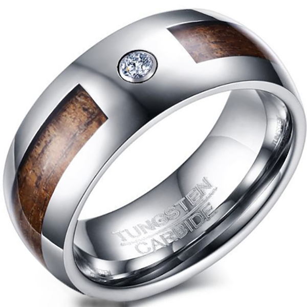 8mm Matte Finished Silver Tungsten Carbide Flat Edge Dome Ring With Wood Inlay And Gemstone