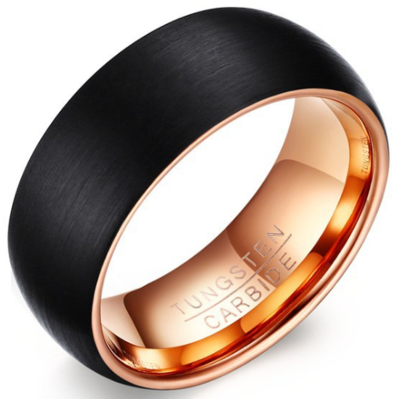 8mm Polished Finished 18K Rose Gold Tungsten Carbide Flat Edge Dome Ring With Black Matte Brushed