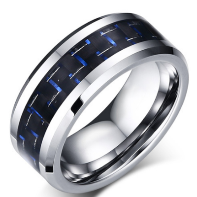 8mm Polished Finished Silver Tungsten Carbide Beveled Edge With Black And Blue Carbon Fiber Inlay