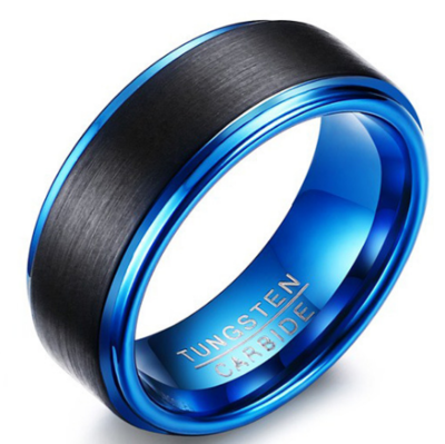 8mm Polished Finished Blue Tungsten Carbide Step Down Edge Ring With Black Matte Brushed Center