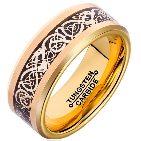 8mm Polished Finished Gold Tungsten Carbide Beveled Edge Ring With Black Carbon Fiber Silver Celtic Dragon Inlay